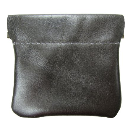Pewter Kid Leather (Leather Squeeze Coin Pouch USA Made, Metallic Pewter)