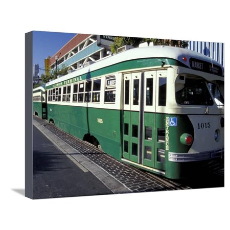 Digital Electric Trolley - Electric Trolleys, Fisherman's Wharf, San Francisco, California, USA Stretched Canvas Print Wall Art By William Sutton