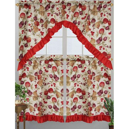 Apple Kitchen Curtains - Kashi Home Diana Kitchen Curtain Swag Set, Apple, Plum, Pear & Cherry Printed Design