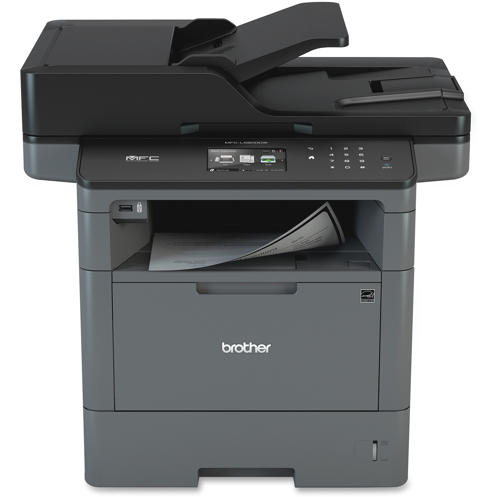 Brother MFC-L5800DW Wireless Monochrome All-in-One Laser Printer, Copy/Fax/Print/Scan