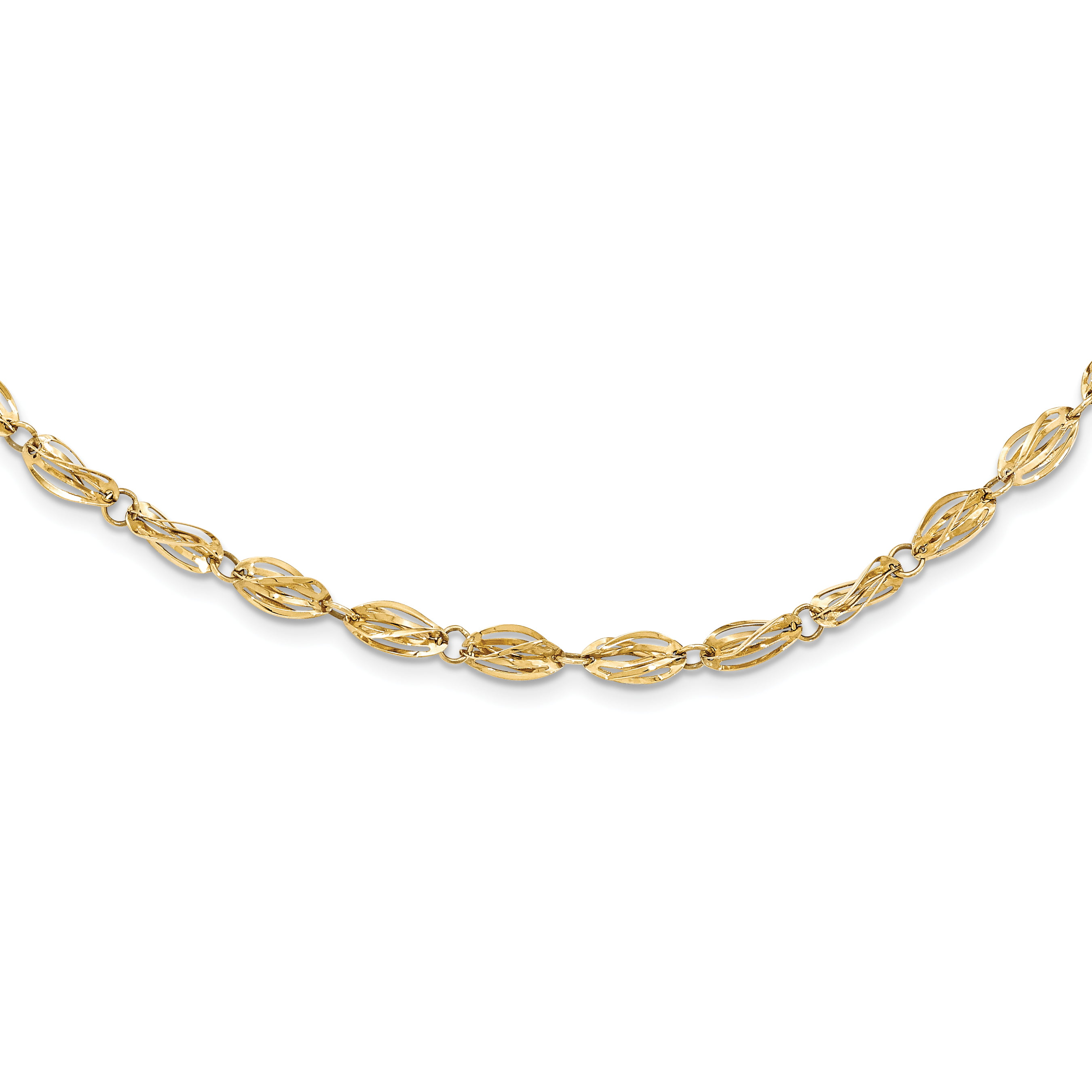 14k Yellow Gold Fancy Link Necklace by