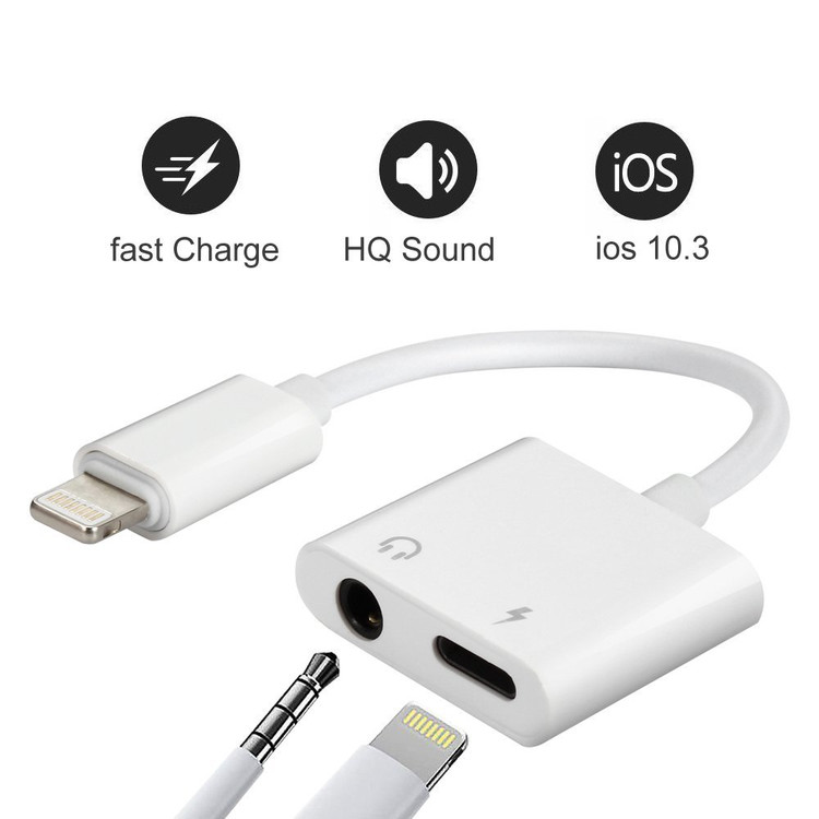 Lightning to 3.5mm Aux Headphone Jack Audio & Charger Cable for iPhone 8/8/Plus/X/7/7Plus, iPhone 7/8 Adaptor & Splitter, Support iOS 11 and Before