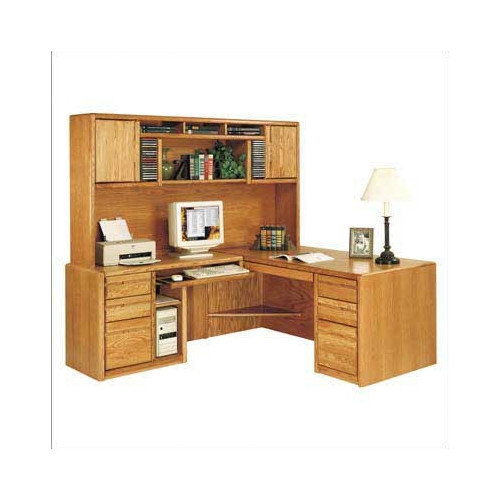Martin Home Furnishings L-Shape Exec/Comp Desk with Hutch