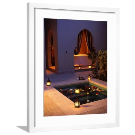 Four Seasons Resort Hotel, Plunge Pool in Private Outdoor Area of the Spa at Night Framed Print Wall Art By John Warburton-lee