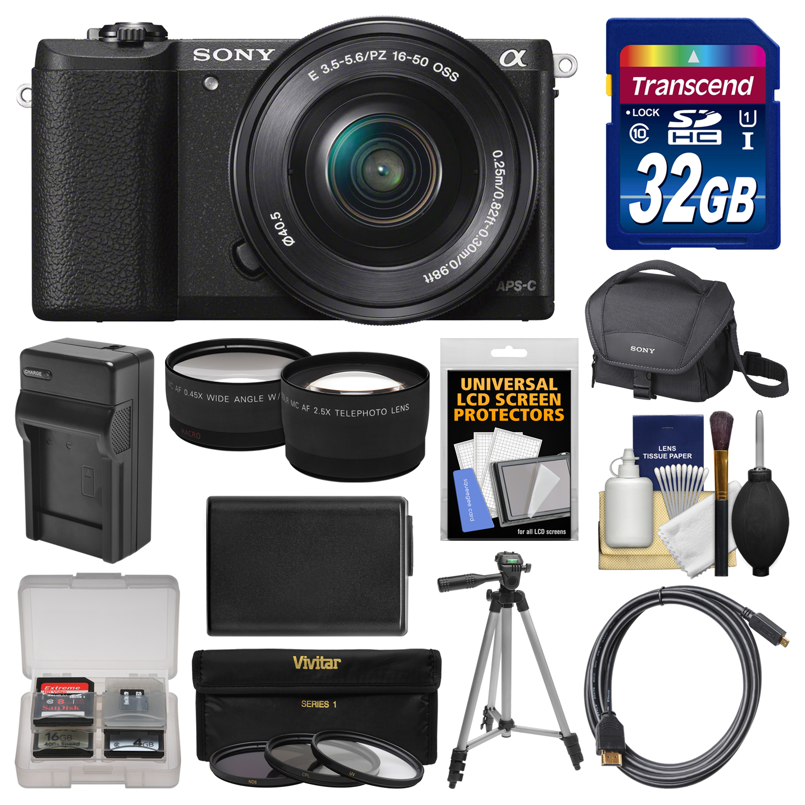 Sony Alpha A5100 Wi-Fi Digital Camera & 16-50mm Lens (Black) with 32GB Card + Case + Battery & Charger +... by Sony