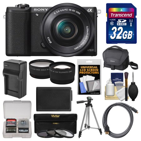 Sony Alpha A5100 Wi Fi Digital Camera   16 50Mm Lens  Black  With 32Gb Card   Case   Battery   Charger   Tripod   Filters   Tele Wide Lens Kit
