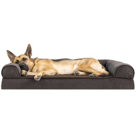 FurHaven Pet Dog Bed | Memory Foam Faux Fleece & Chenille Couch Sofa-Style Pet Bed for Dogs & Cats, Coffee,