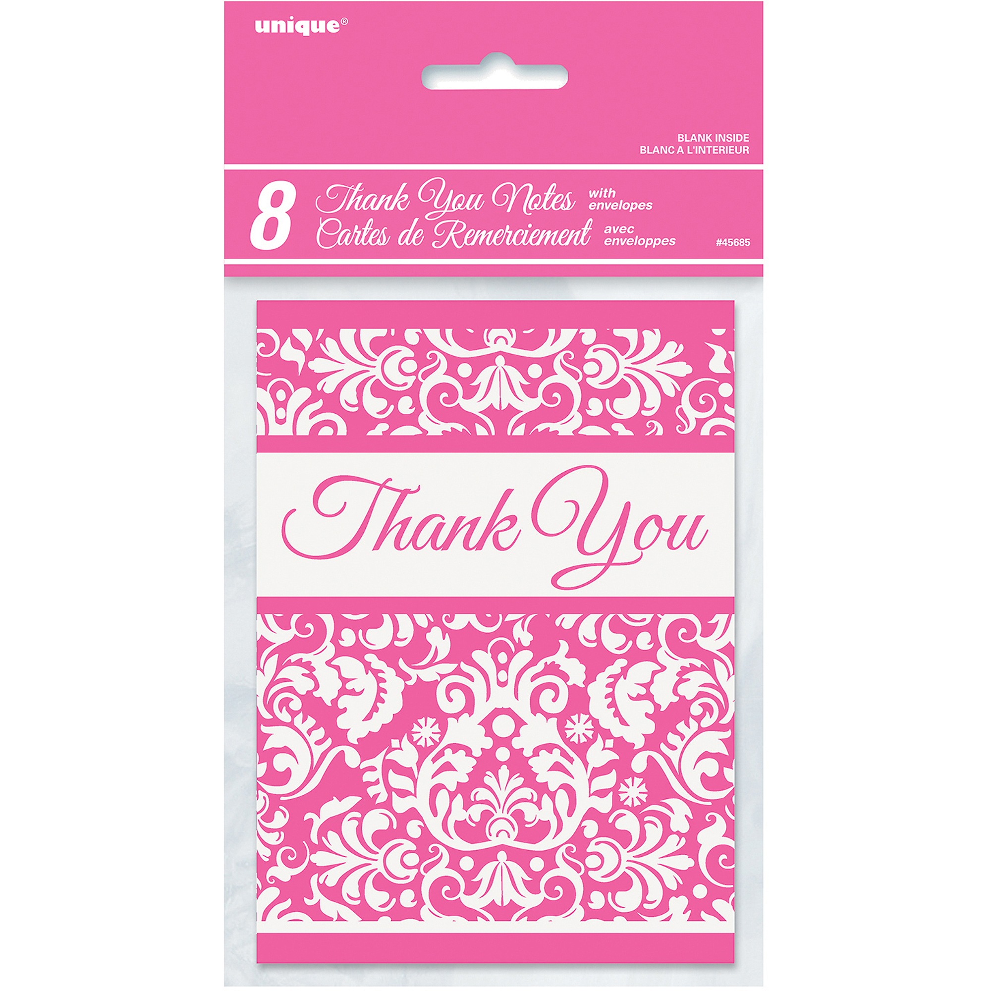 Pink Damask Thank You Notes, 8pk