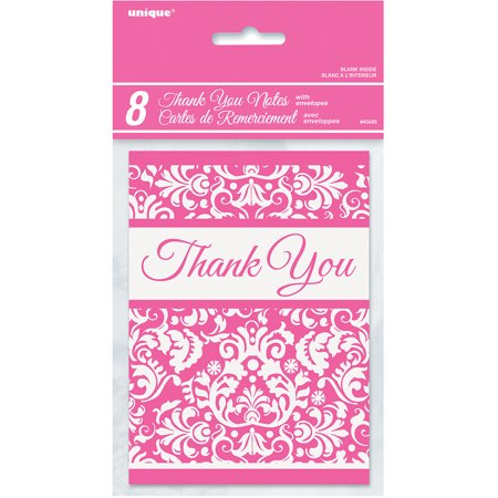 Pink Damask Thank You Notes  8Pk
