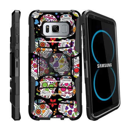 Samsung Galaxy S8 | SM-G950 Holster Case [ Clip Armor ] Rugged Holster Case with Kickstand + Belt Clip - Sugar Skull Design