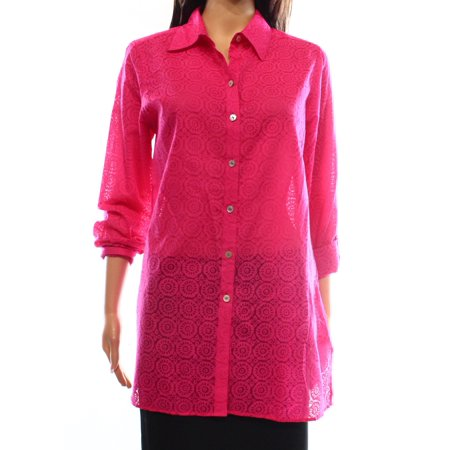 Foxcroft New Hot Pink Womens Size 10 Sheer Button Down