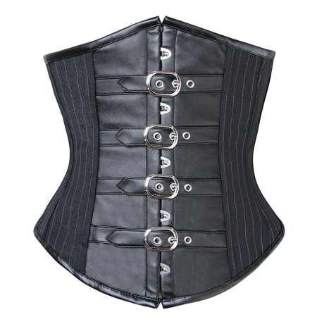 (Charmian Women's Gothic Pinstripe Steel Boned Underbust Corset with Buckles)