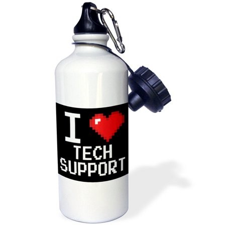 3dRose Geeky Old School Pixelated Pixels 8-Bit I Heart I Love Tech Support, Sports Water Bottle, 21oz (Bottle Support)