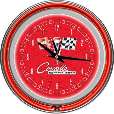 Corvette C2 Red Chrome Double Ring Neon -