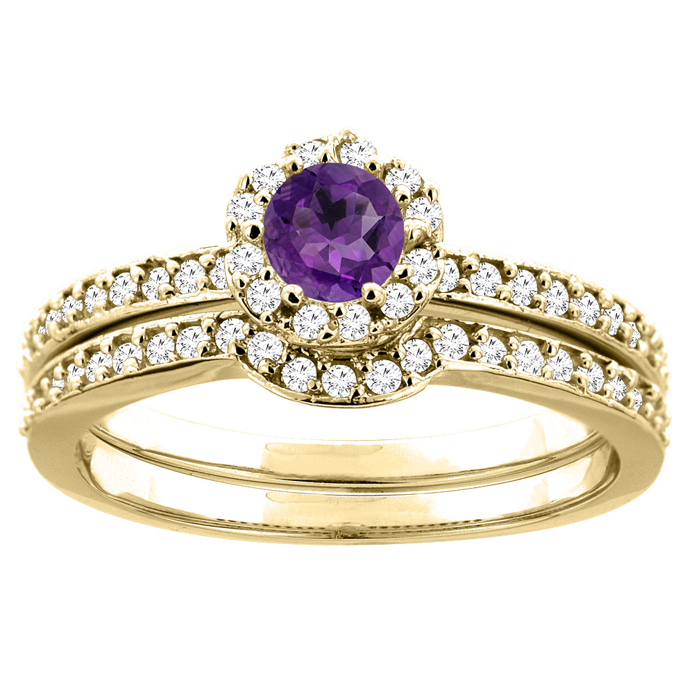 10K Yellow Gold Natural Amethyst 2-pc Bridal Ring Set Diamond Accent Round 4mm, sizes 5 10 by WorldJewels