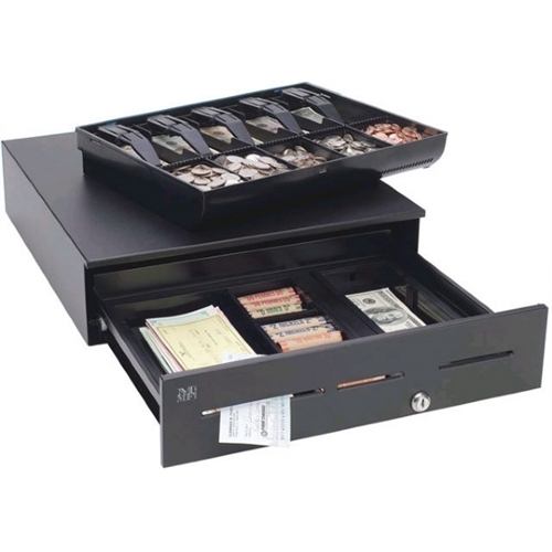 MMF POS Advantage Cash Drawer Stainless, 3 Slots Drop-Safe, 18x16.7, US Till - Black ADV-113B11321-04