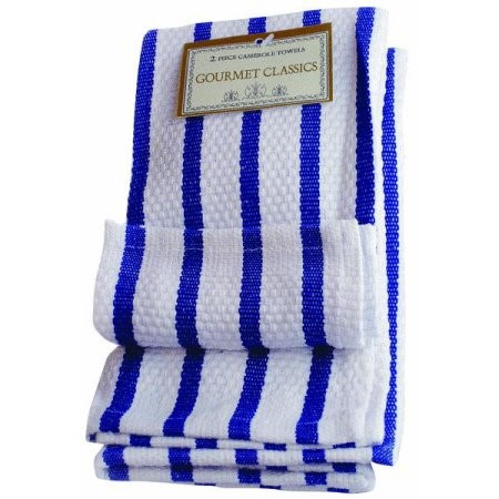 Harold Import Company Striped Dish Cloth (Set of 2), Royal Blue and White