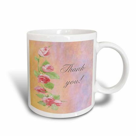 Hand Painted Ceramic Mug - 3dRose Painted Pink Roses Thank you, Ceramic Mug, 11-ounce