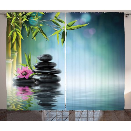 Zen Garden Curtains 2 Panels Set, Pink Flower Spa Stones and Bamboo Tree on the Water Relaxation Theraphy Peace, Window Drapes for Living Room Bedroom, 108W X 90L Inches, Multicolor, by Ambesonne ()