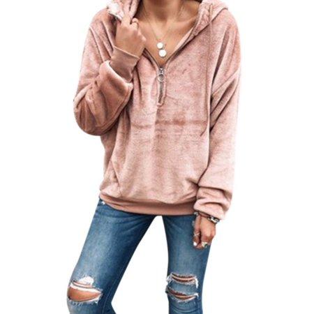 Women Winter Warm Fleece Long Sleeve Hooded Zipper Sweater Casual Loose Top Zipper Hooded Sweater
