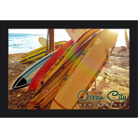 Ocean City, New Jersey - Surfboards on Beach Rack - Lantern Press Photography (18x12 Giclee Art Print, Gallery Framed, Black Wood)
