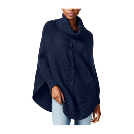 maison Jules Womens Cable-Knit Poncho Sweater navy XS   Walmart Canada