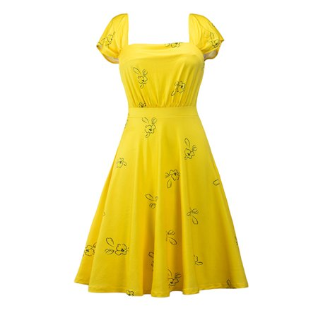 Plus Size Vintage Women Retro Swing Dress Cocktail Evening Formal Party Summer Yellow Short Sleeve Square Neck Dresses - Yellow Dress Ideas