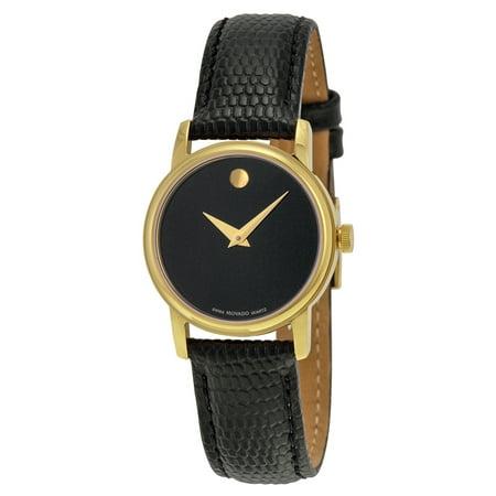 Movado Museum Black Dial Black Leather Ladies Watch