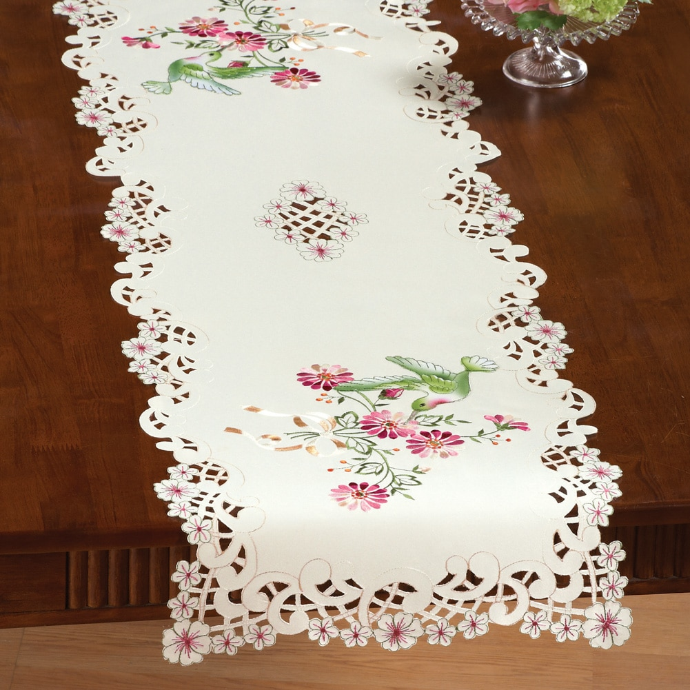 Embroidered Hummingbird Table Linens, Runner, Beige by Collections Etc