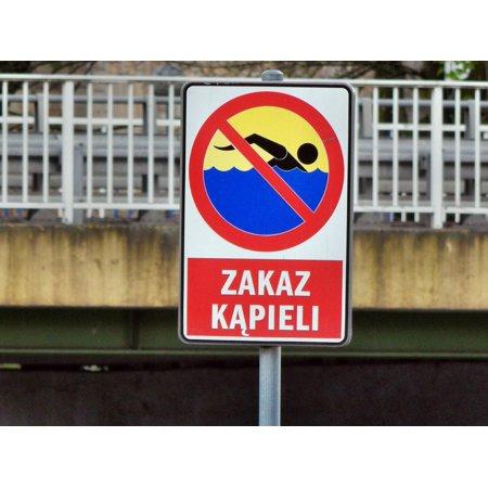 LAMINATED POSTER Bathing Prohibition Warning Sign Poster Print 24 x 36