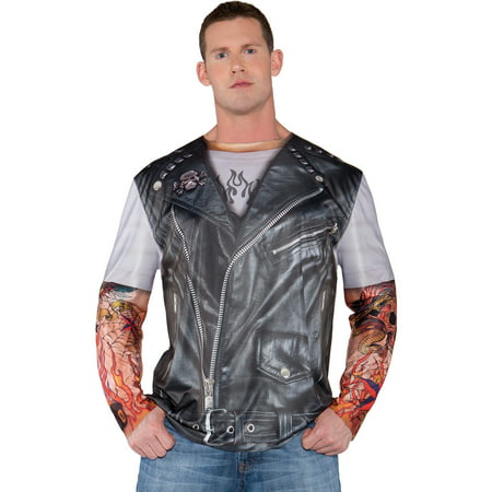 Photo-Real Biker Jacket Adult Halloween Costume](Biker Halloween Costume)