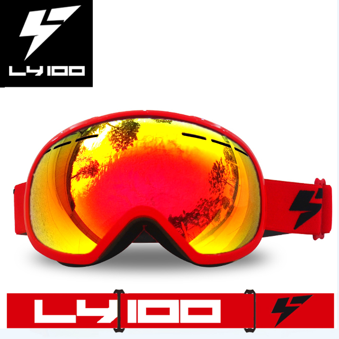 Anti-fog Snowboarding Ski Goggles OTG UV400 Protect Big Double Lens Red by