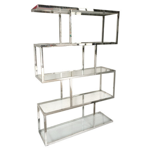 Vesey Metal And Glass Etagere, Silver and Clear by A&B Home Group