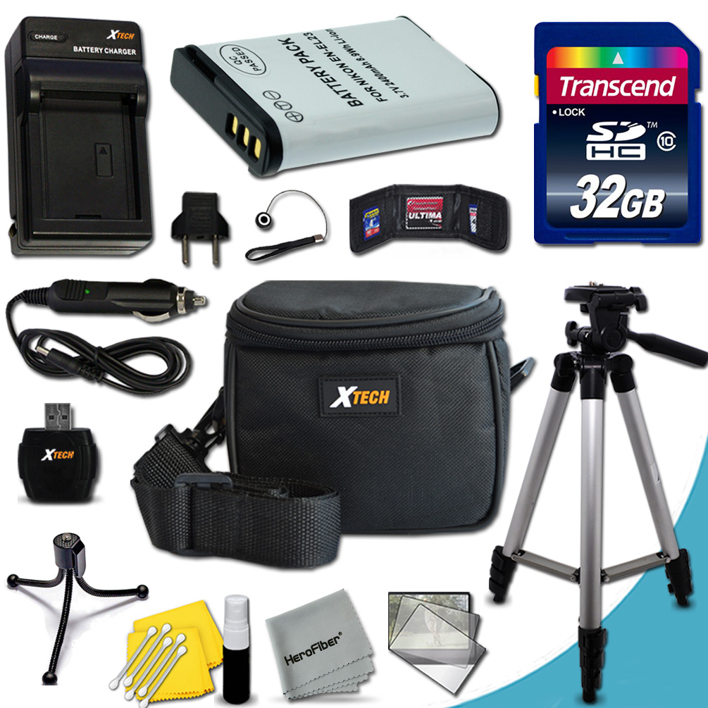 Ultimate Accessory Kit for Nikon Coolpix P900, P610, P600, S810c Digital Cameras Includes: 32GB High Speed Memory Card + 1 High Capacity EN-EL23 / ENEL23 Lithium-ion Battery with Quick AC/DC Charger +