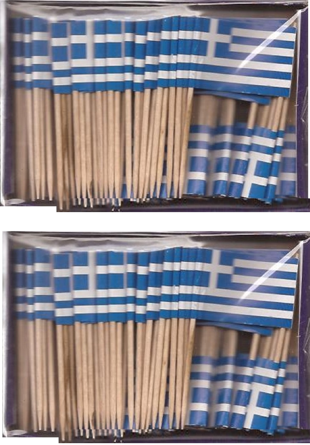 2 Boxes of Mini Greece Toothpick Flags, 200 Small Greek Flag Toothpicks or...