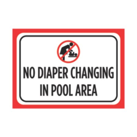 No Diaper Changing In Pool Area Print Black White Large Poster Picture Symbol Attention Public Notice Sign, (Public Area)