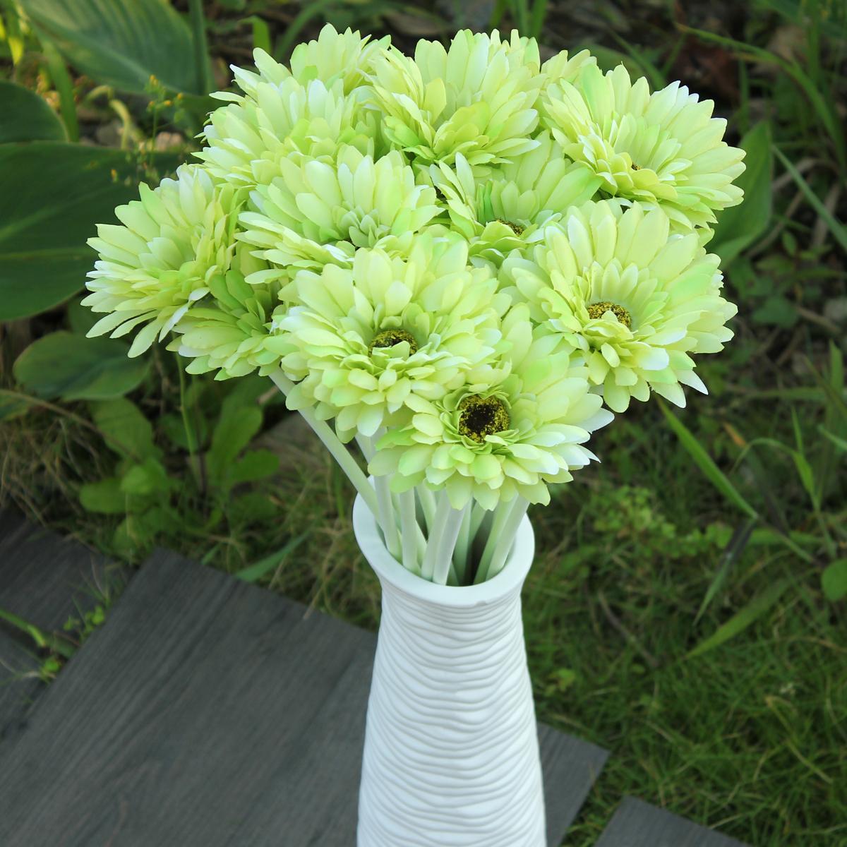 10 Heads Artificial Flower  Gerbera Gerber Daisy Bridal Bouquet Silk Wedding Party Home Garden Decor