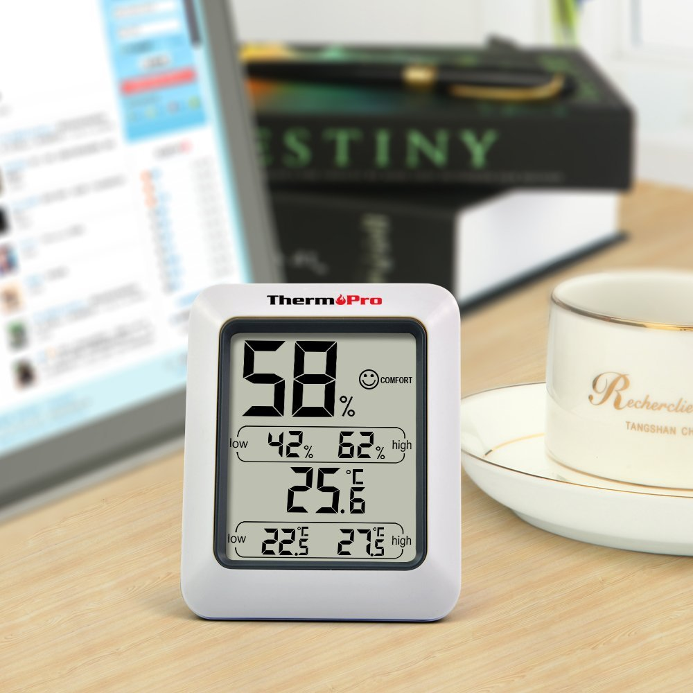 ThermoPro TP50 Indoor Thermometer Humidity Monitor Weather Station With  Temperature Gauge Humidity Meter Hygrometer   Walmart.com
