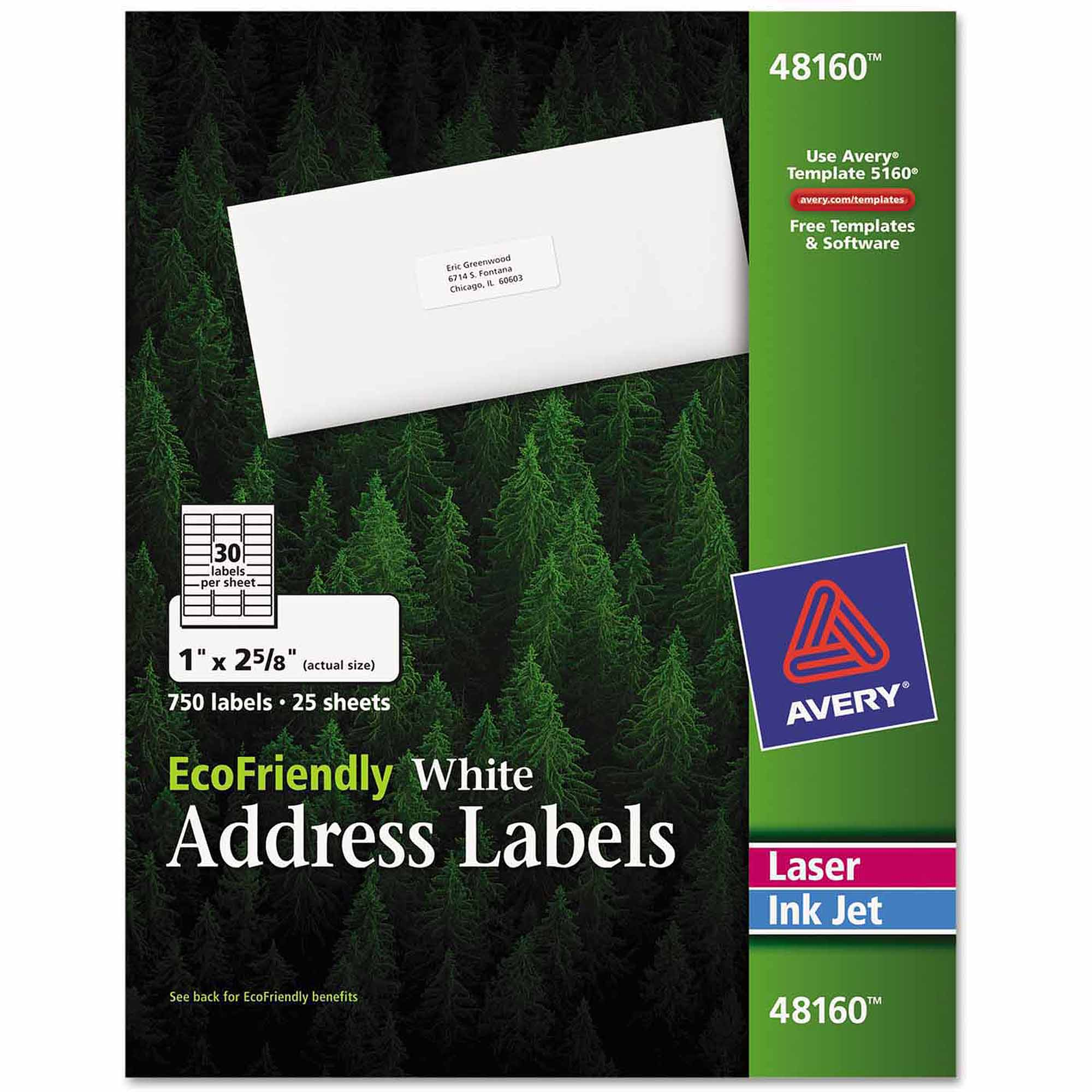 "Avery 1"" x 2-5/8"" EcoFriendly Labels, White, Pack of 750"