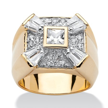 Men's 2.48 TCW Square, Round and Baguette Cubic Zirconia 18k Gold over Sterling Silver -