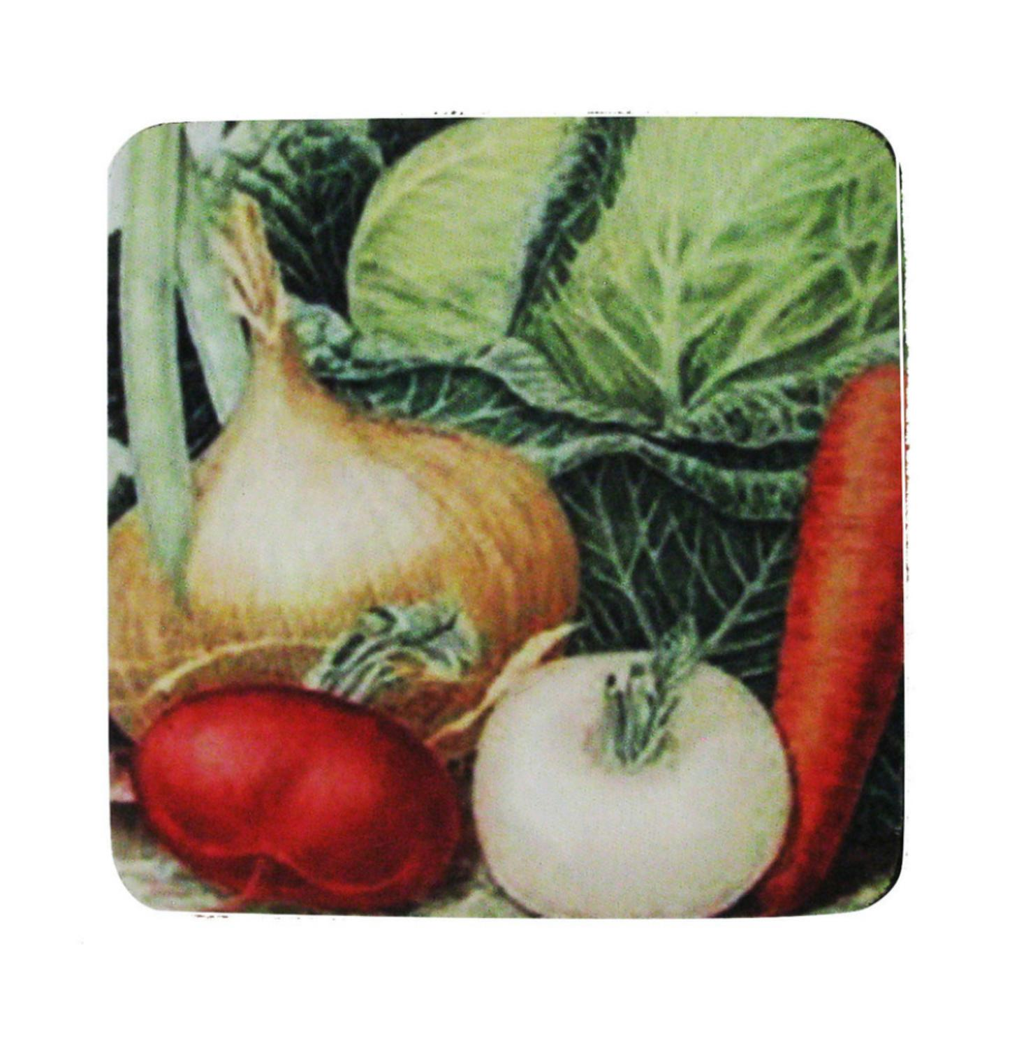 Pack of 8 Antique Style Cabbage & Onion Vegetable Print Cocktail Drink Coasters 4""