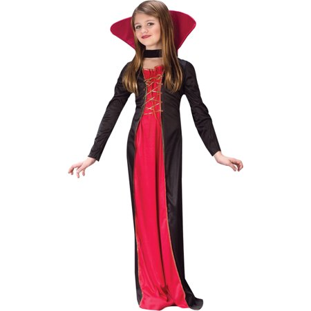 Morris Costumes Girls Classic Halloween Vampire Outfit Black Red 4-6, Style FW9732SM - Halloween Costumes Vampire Cape