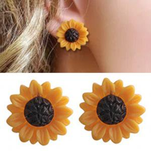 Fancyleo Hand Painted Sunflower Stud Earrings Painted Lace Earrings