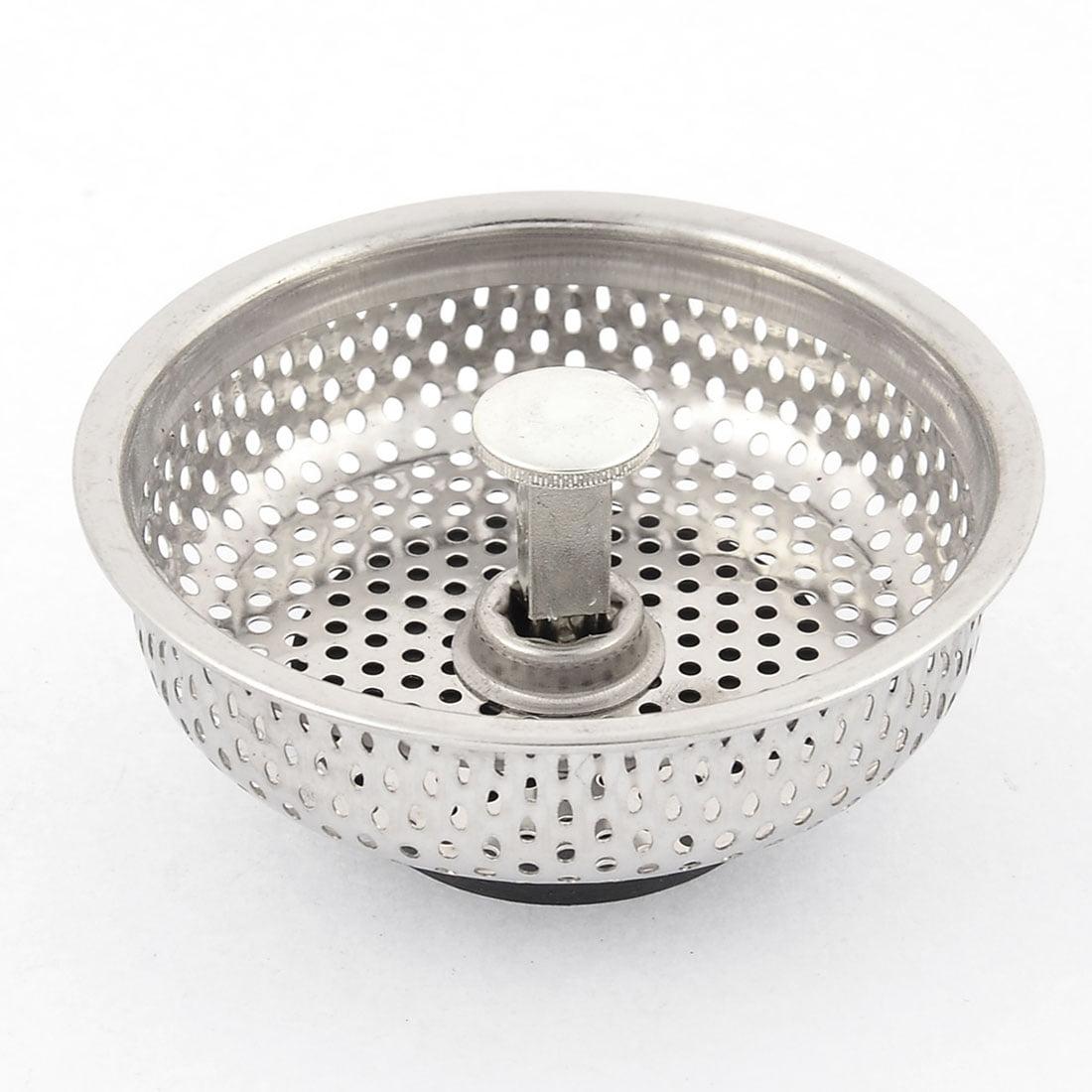 Unique Bargains Kitchen Bathroom Sink Drain Strainer Screen Stopper Metal Filter Basket 83mm Dia