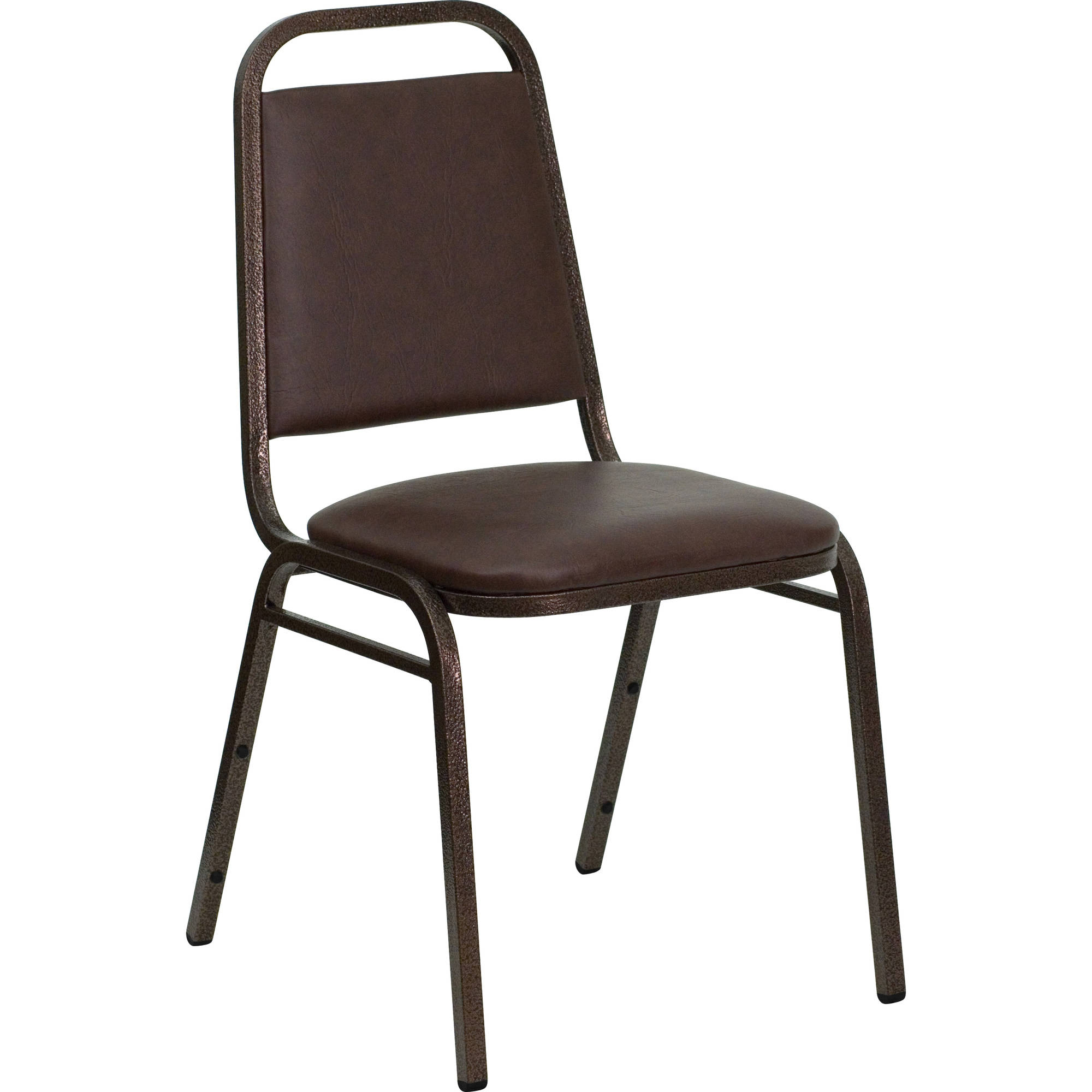Flash Furniture HERCULES Series Trapezoidal Back Stacking Banquet Chair with Brown Vinyl and 1.5'' Thick Seat, Copper Vein Frame