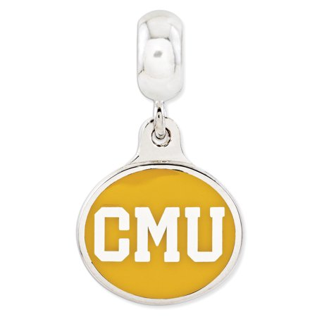 Sterling Silver Central Michigan University Collegiate Enameled Dangle Bead