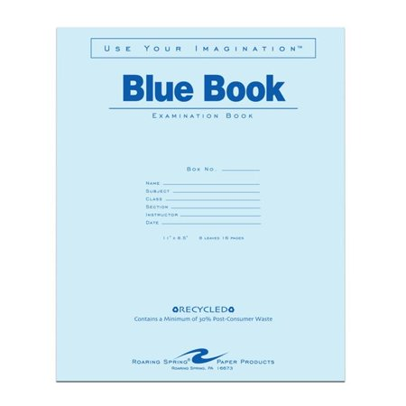 Roaring Spring Paper Products 77609 Recycled Blue Exam Book   500 Per Case