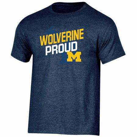 Men's Russell Navy Michigan Wolverines Slant T-Shirt