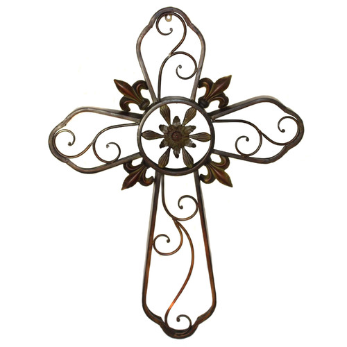 EC World Imports Hanging Wall Cross Fleur-De-Lis Metal Sculpture Wall Decor by ecWorld