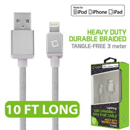 Cellet 10' Lightning 8-Pin to USB Charging Data Sync Cable for Apple iPad Pro, iPad mini 4/2, iPad Air 1/2, iPhone 6s Plus/6s/6 Plus/6/5s/5c/5, iPod touch, iPod nano, White (Usb Cable For Ipad Air)